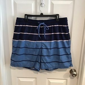 Men's Merona Blue Striped Swim Trunks